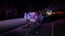 A car crashed near Platt Park during a blackout on the night of April 17. (Courtesy Ben Schumacher)
