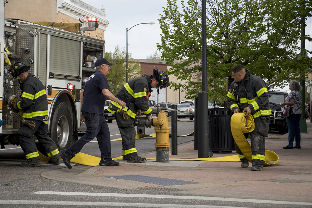 Denver firefighters work on an incident in Tortillas Mexico on 11th Avenue at Santa Fe Drive, May 10, 2018. (Kevin J. Beaty/Denverite)