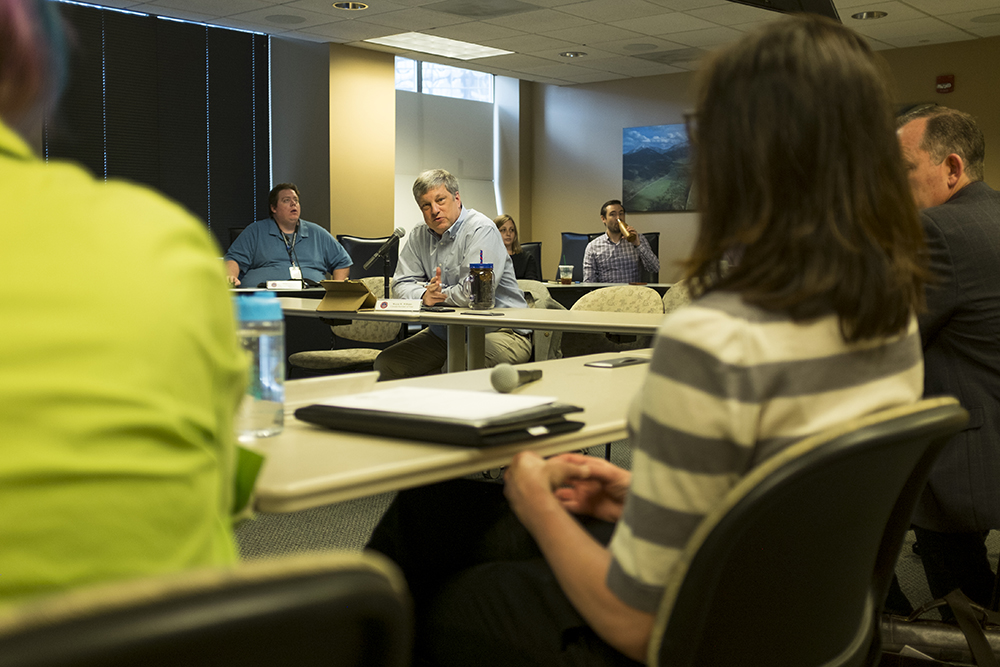 Secretary of State Wayne Williams holds a bipartisan election meeting, May 23, 2018. (Kevin J. Beaty/Denverite)  denver; colorado; denverite; kevinjbeaty; copolitics; voting; wayne williams;