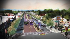 A rendering of bus rapid transit on Colfax. (Denver Public Works)