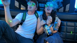 Former staff members pose aboard a cannabis tour bus. (My 420 Tours/CC 4.0/Wikimedia Commons)
