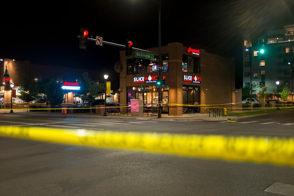 Colfax is closed after a shooting at a 7 Eleven, June 13, 2018. (Kevin J. Beaty/Denverite)
