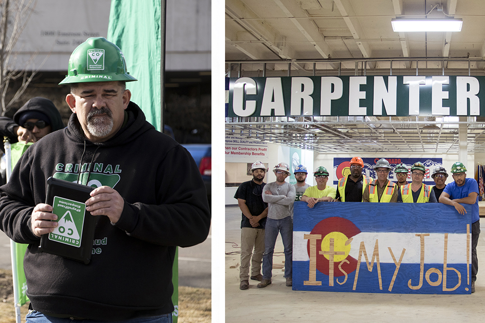 Mark Thompson (left) and apprentices inside the Carpenters Local 555 union hall, May 21, 2018. (Kevin J. Beaty/Denverite)