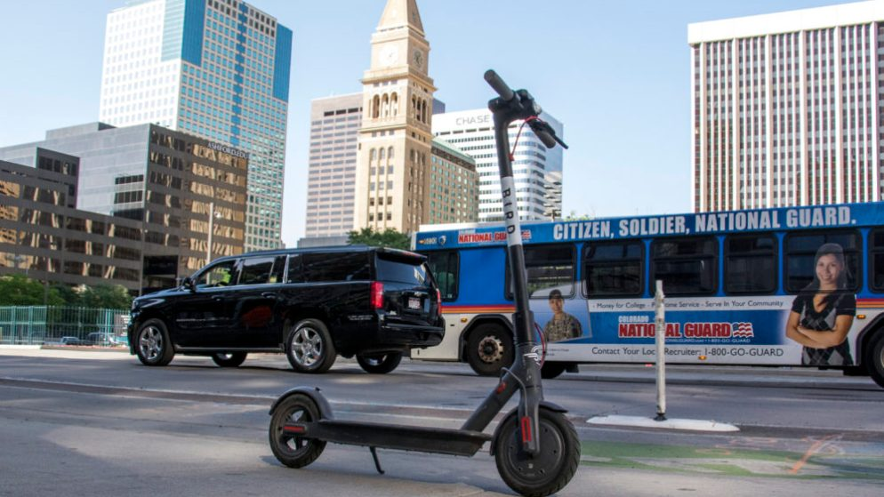 A Bird electric scooter awaits a rider on 15th Street downtown. June 11, 2018. (Kevin J. Beaty/Denverite)