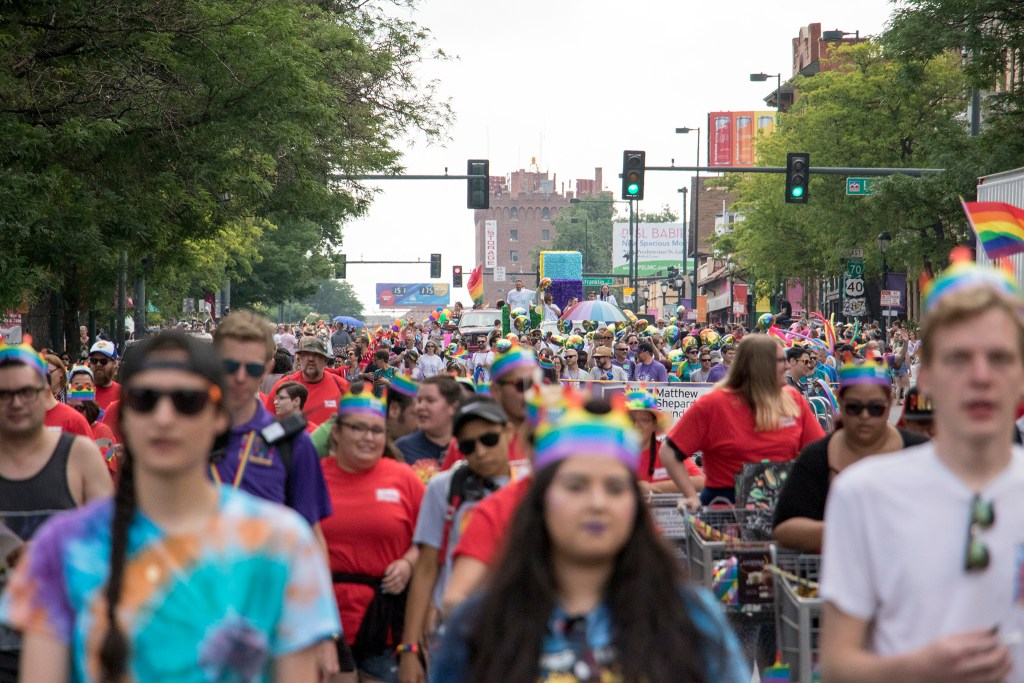 Thousands of people march in the Denver PrideFest parade, June 17, 2018. (Kevin J. Beaty/Denverite)
