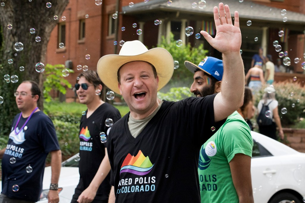 U.S. Representative and gubernatorial candidate Jared Polis marches in the Denver PrideFest parade, June 17, 2018. (Kevin J. Beaty/Denverite)