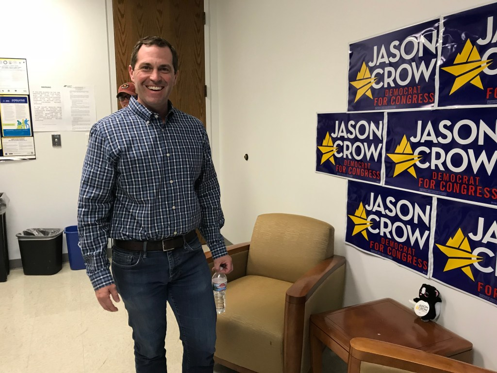 Congressional candidate Jason Crow inside his offices on Friday, June, 22, in Aurora. (Esteban L. Hernandez/Denverite)