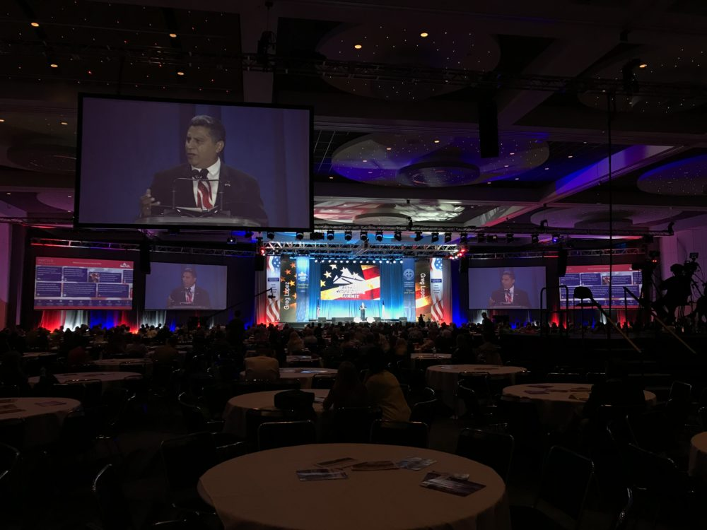 Republican gubernatorial candidate Greg Lopez speaks at the Western Conservative Summit on Saturday, June 9, at the Colorado Convention Center in Denver. (Esteban L. Hernandez/Denverite)