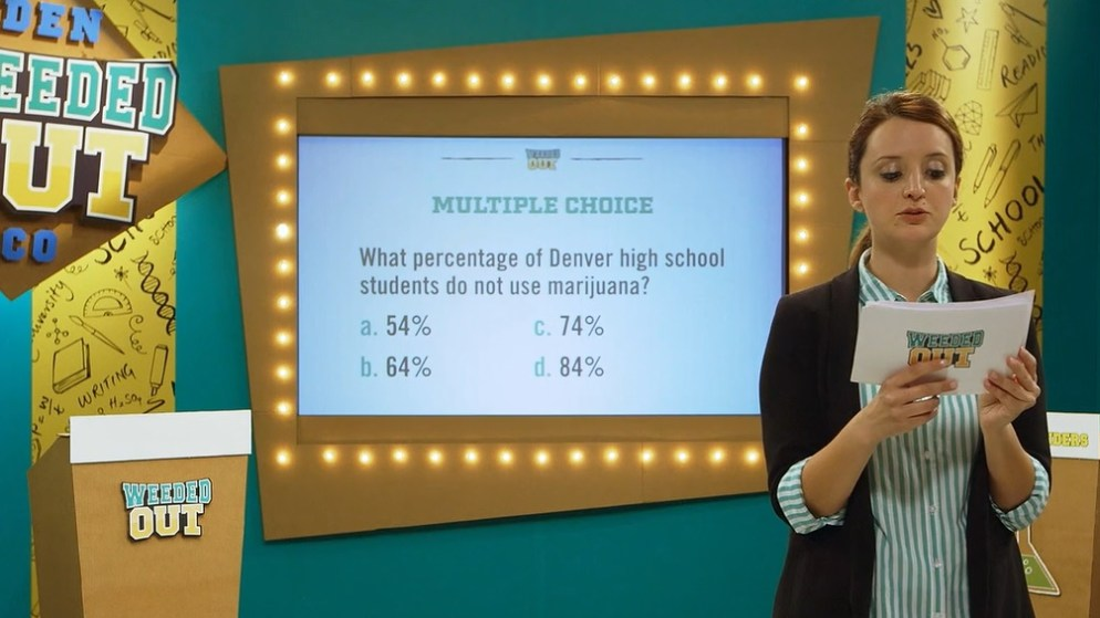 """A screengrab of """"Weeded Out,"""" an educational game show about marijuana created by the Department of Excise and Licenses."""