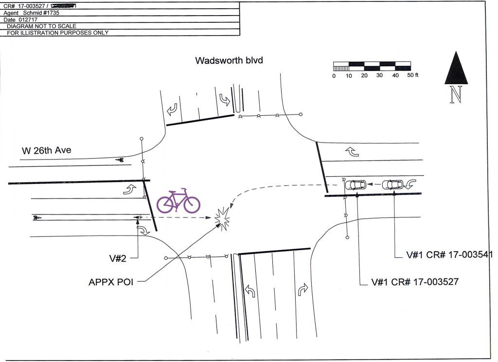 A diagram of the crash that left Gary Suydam paralyzed, with a bicycle added by Denverite for clarity. (Lakewood Police Department)