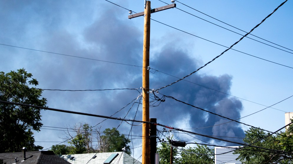 Plumes of smoke from a recycling center fire in Adams County, seen from Five Points, July 10, 2018. (Kevin J. Beaty/Denverite)