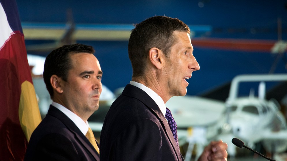 Republican gubernatorial candidate Walker Stapleton announces State Representative Lang Sias as his running mate at a press event at Wings Over The Rockies, July 11, 2018. (Kevin J. Beaty/Denverite)