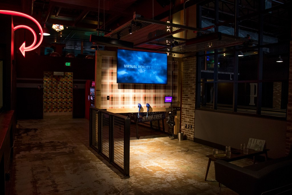 A new virtual reality parlor is open at Punch Bowl Social Broadway, July 18, 2018. (Kevin J. Beaty/Denverite)