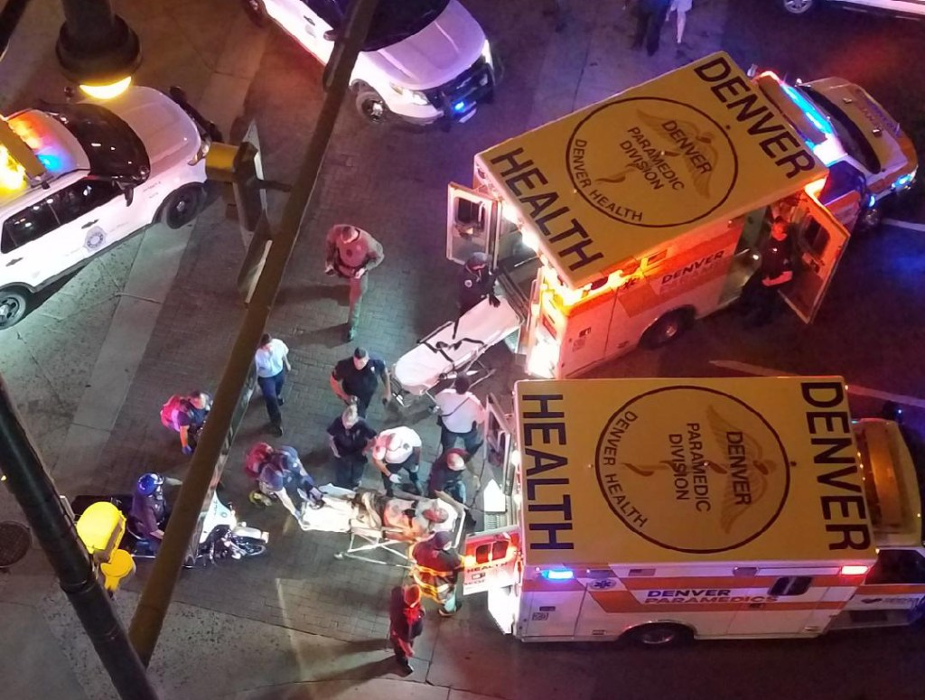 The suspect in the alleged tractor theft and ensuing chase is loaded into a Denver Health ambulance, July 20, 2018. (Photo courtesy of Andres Oropeza)