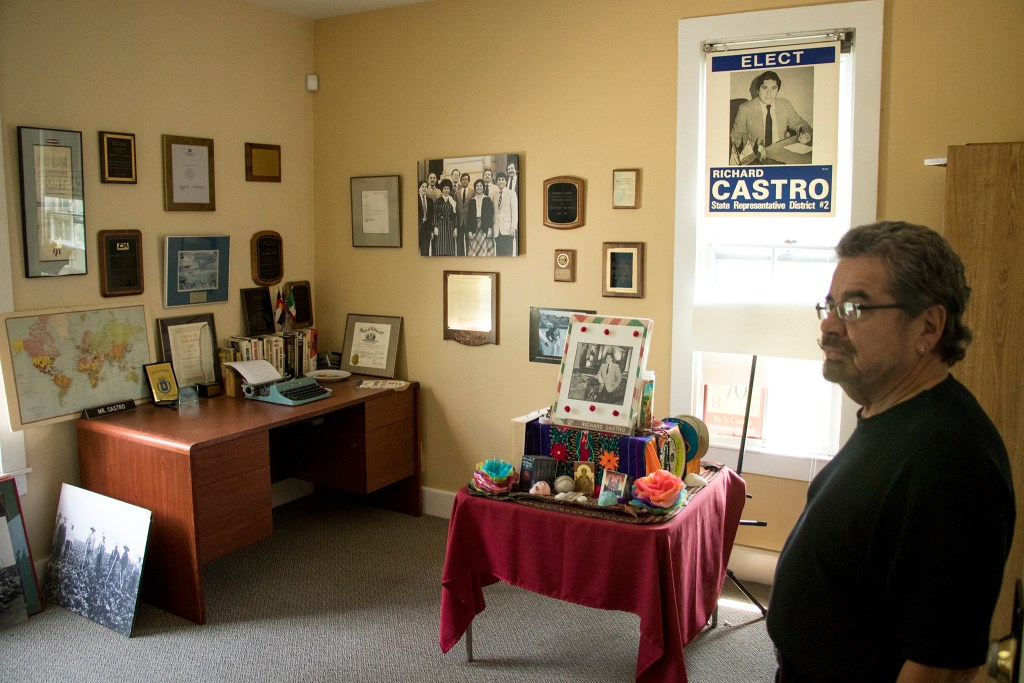 Ramon Del Castillo, chair of Metro State Univerity's Chicano/a studies program, stands in Richard Castro's old office in its historic home on the Auraria Campus, July, 27, 2018. (Kevin J. Beaty/Denverite)
