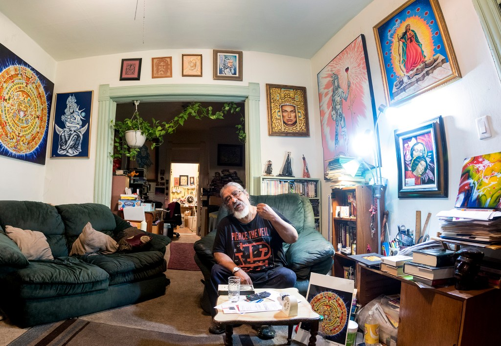 Stevon Lucero at his Highland home and studio, July 29, 2018. (Kevin J. Beaty/Denverite)