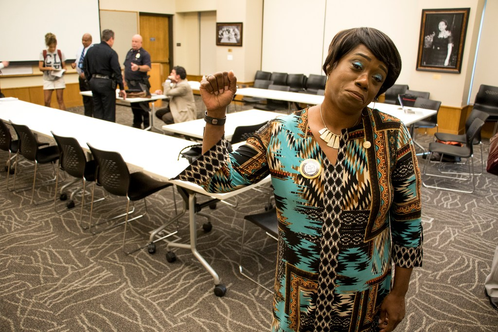 Rev. Rammy Garrett-Williams poses for a portrait. Denver Police Chief Paul Pazen presents his department's new use-of-force policy to a room of community stakeholders at the Blair-Caldwell African American Research Library, Aug. 6, 2018. (Kevin J. Beaty/Denverite)