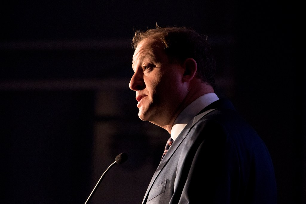 Democratic gubernatorial candidate Jared Polis speaks at the Colorado Oil and Gas Association's annual energy summit at the Colorado Convention Center, Aug. 22, 2018. (Kevin J. Beaty/Denverite)