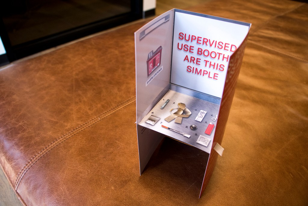 A miniature example of a supervised injection booth distributed by the Harm Reduction Action Center, Aug. 28, 2018. (Kevin J. Beaty/Denverite)