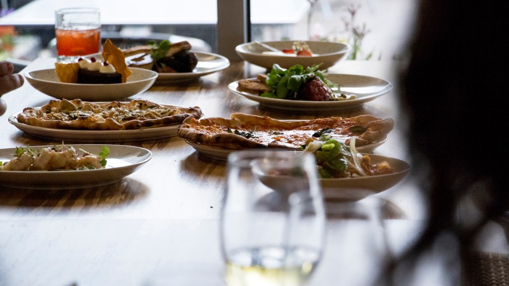 Food on display at Mila, the new restaurant at Denver Place downtown, Aug. 28, 2018. (Kevin J. Beaty/Denverite)