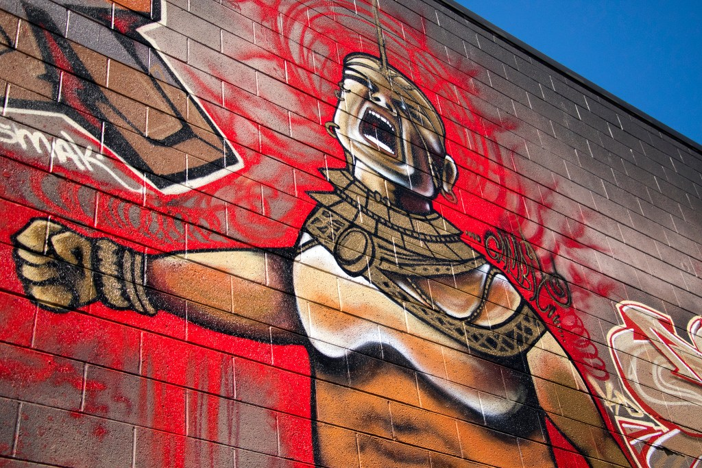 A mural by the KD Crew, which the artist will repaint for Colorado Crush in RiNo. Five Points, Aug. 29, 2018. (Kevin J. Beaty/Denverite)