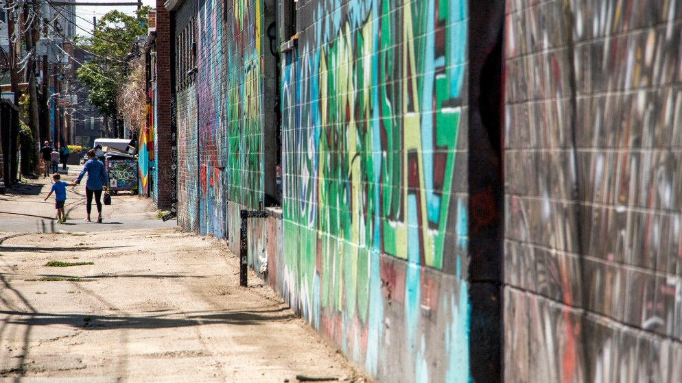 A mural alley in RiNo. Five Points, Aug. 29, 2018. (Kevin J. Beaty/Denverite)