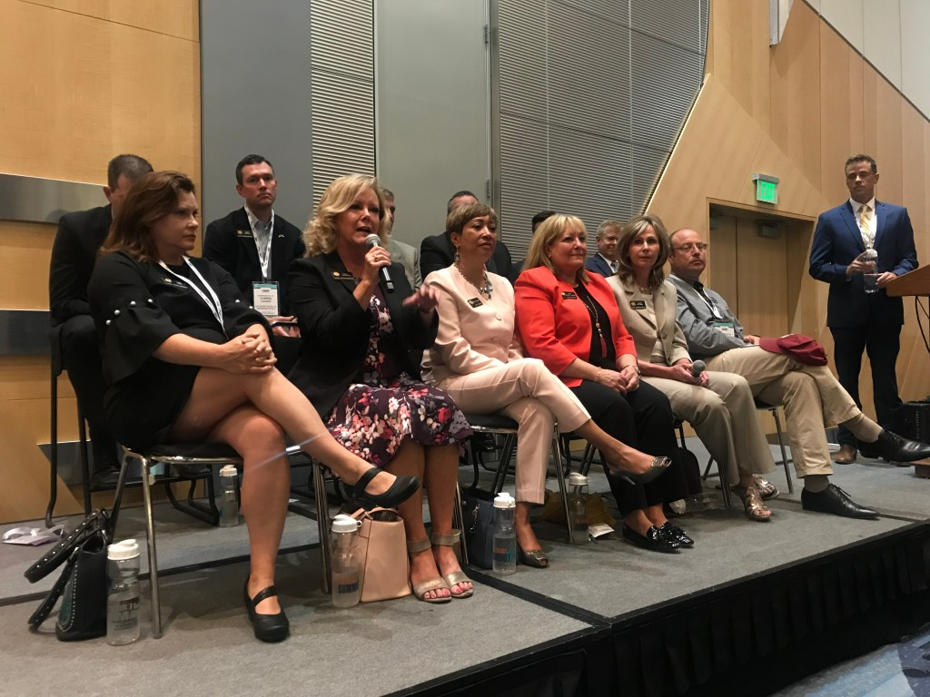 State Rep. Polly Lawrence, a Republican from Parker, speaks during a Colorado legislators panel with 11 other state lawmakers at the Colorado Convention Center on Tuesday, August 21, 2018. (Esteban L. Hernandez/Denverite)
