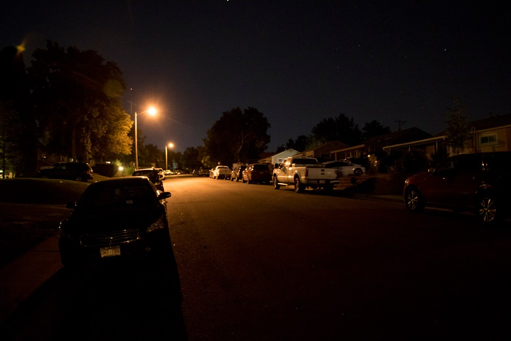 This Ruby Hill neighborhood street was pretty quiet after Grandoozy at Overland Golf Course, Sept. 14, 2018. (Kevin J. Beaty/Denverite)