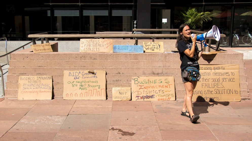 Terese Howard speaks as Denver Homeless Out Loud holds a rally opposing Business Improvement Districts' policies that they say marginalize people experiencing homelessness, Sept. 18, 2018. (Kevin J. Beaty/Denverite)