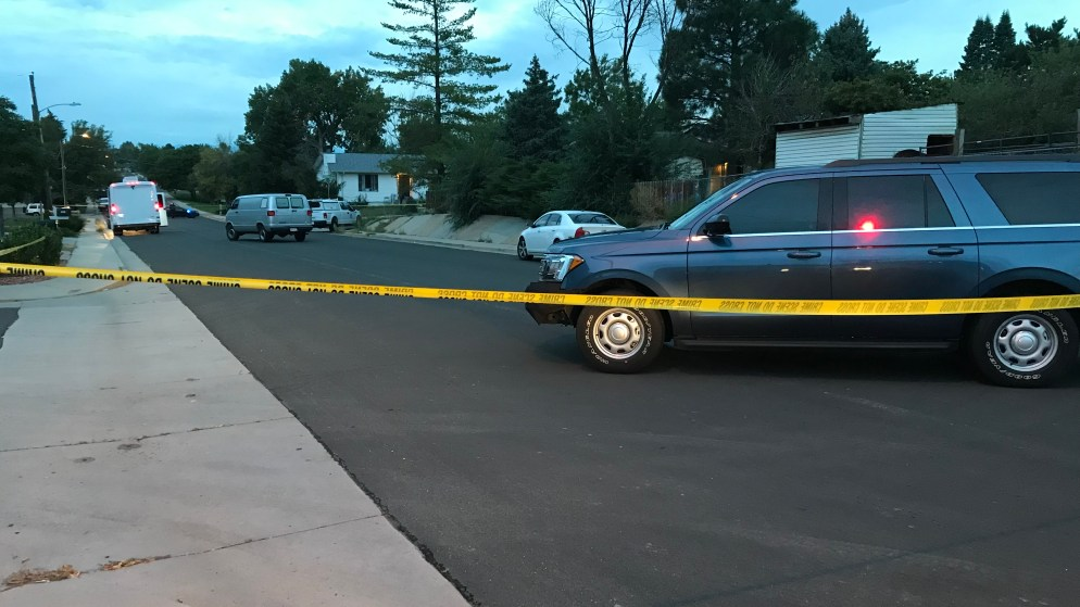 Police vehicles on Fairplay Street in Aurora following an officer-involved shooting on Wednesday, Sept. 5, in Aurora. (Esteban L. Hernandez/Denverite)