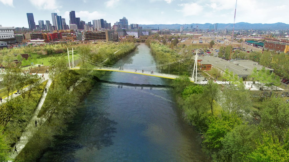 A rendering of the bridge that could show up over the Platte next summer. (Wenk Associates)