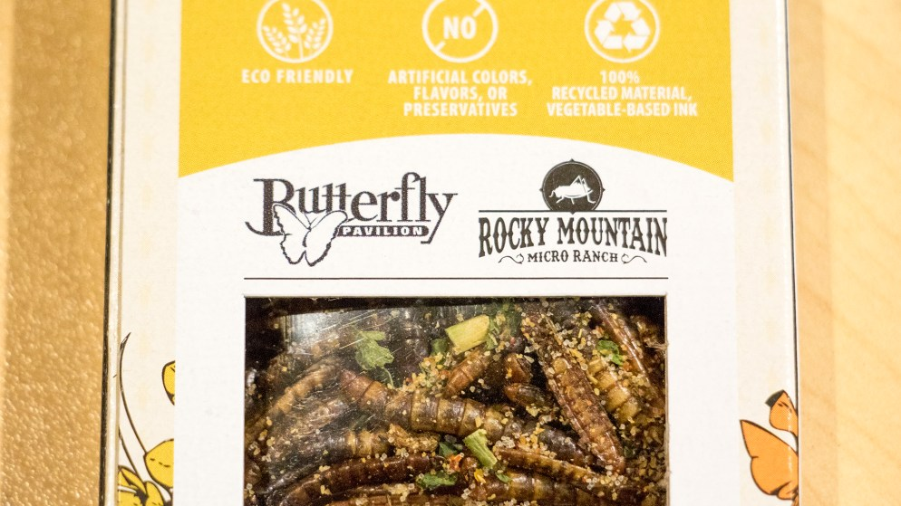 """""""Insectables,"""" the new product by Rocky Mountain Micro Ranch, in partnership with Butterfly Pavilion, that's avaiable at the Pavilion and soon at the Denver Museum of Nature and Science. Oct. 10, 2018. (Kevin J. Beaty/Denverite)"""