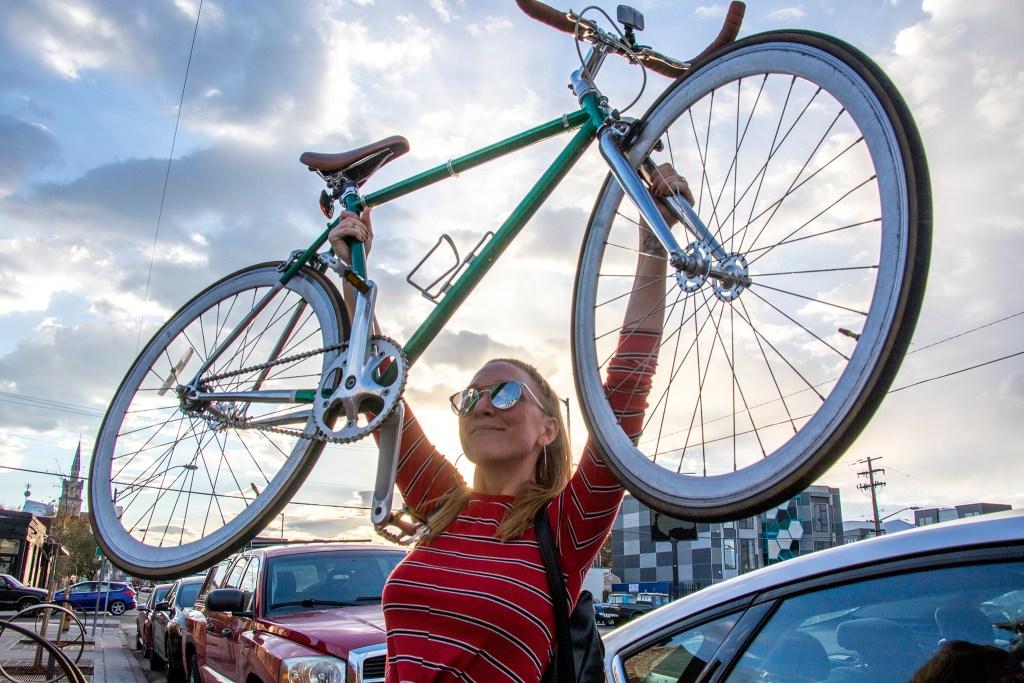 Ashley Dean wins the Great Denver Transportation Race, Oct. 25, 2018. (Kevin J. Beaty/Denverite)