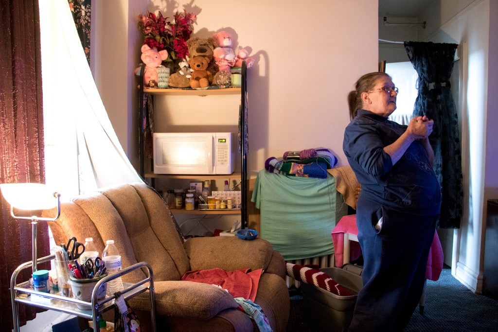 Joannie Cason speaks to a reporter inside her apartment at the Colburn Hotel, Oct. 30, 2018. (Kevin J. Beaty/Denverite)