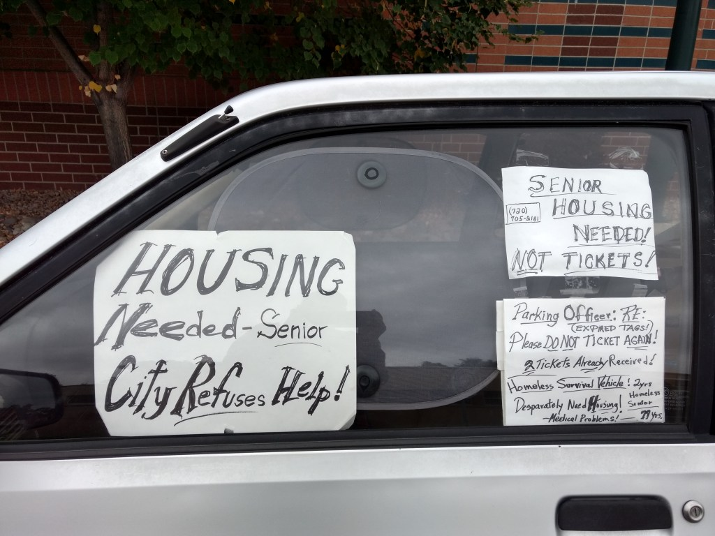 A car belonging to JC Reed, a homeless former bookseller in Denver. (Donna Bryson/Denverite)