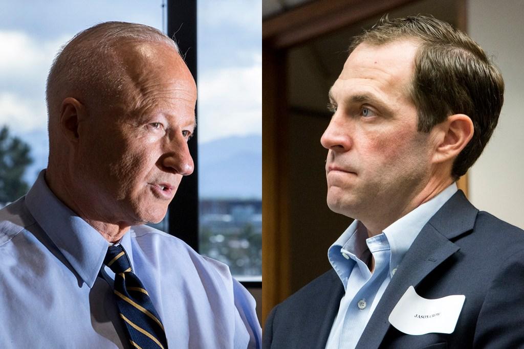 U.S. House of Representatives incumbant Mike Coffman (left) and challenger Jason Crow. (Kevin J. Beaty/Denverite)