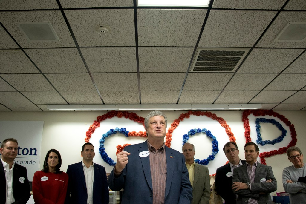Colorado Secretary of State Wayne Williams speaks during a rally at Jefferson County GOP headquarters just days before the election, Nov. 3, 2018. (Kevin J. Beaty/Denverite)