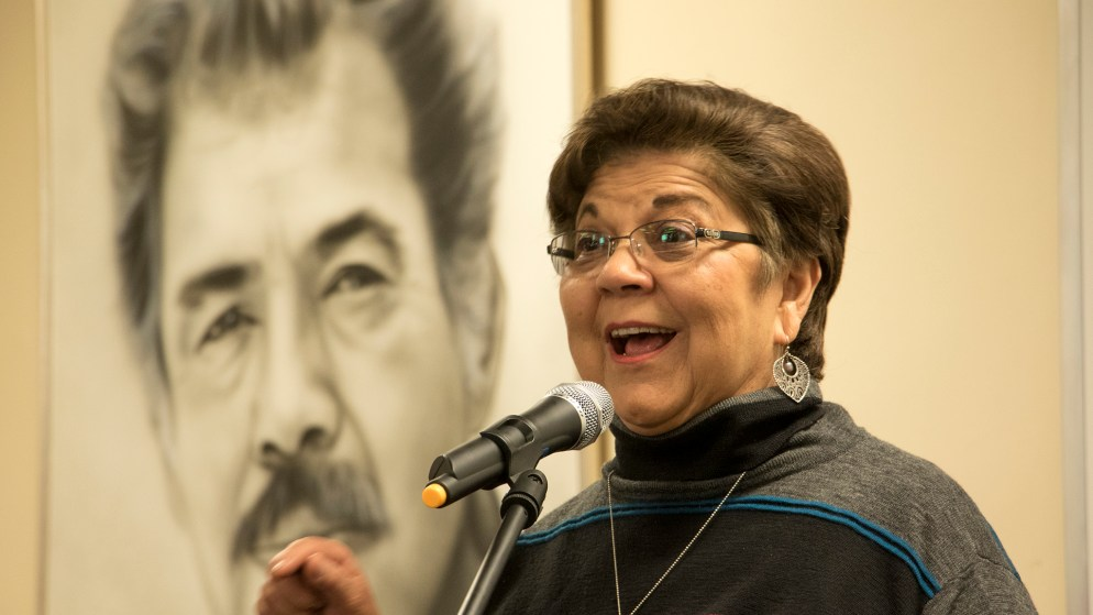 Former state representative Polly Baca speaks as Latino community leaders meet to discuss the community's representation in state government following the midterm election, Nov. 15, 2018. (Kevin J. Beaty/Denverite)