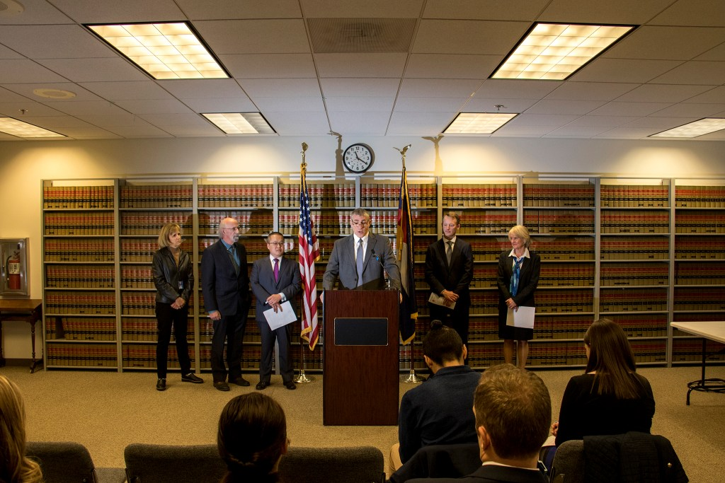 FBI Special Agent In Charge Dean Phillips speaks at a press conference inside the Denver District Attorney office at the Wellington Webb Municipal Building, Nov. 20. 2018. (Kevin J. Beaty/Denverite)