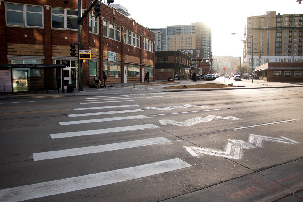 A new bike and pedestrian crossing at Broadway, 21st, Stout and Champa Streets, Nov. 27, 2018. (Kevin J. Beaty/Denverite)
