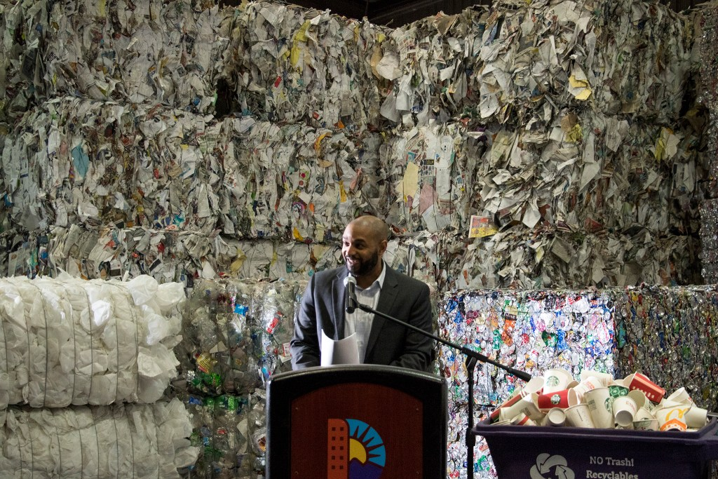 Eulois Cleckley, executive director of Denver Public Works, speaks during a press conference announcing that you can now recycle coffee cups. Altogether Recycling, Globeville, Dec. 3, 2018. (Kevin J. Beaty/Denverite)
