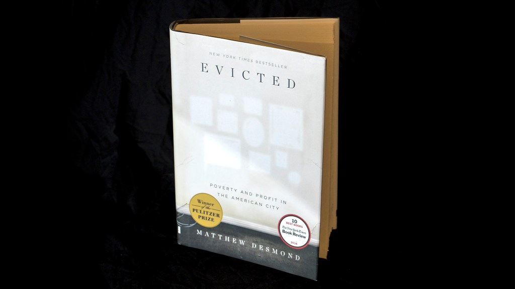 """Evicted"" by Matthew Desmond, photographed in the Denverite newsroom. (Kevin J. Beaty/Denverite)"