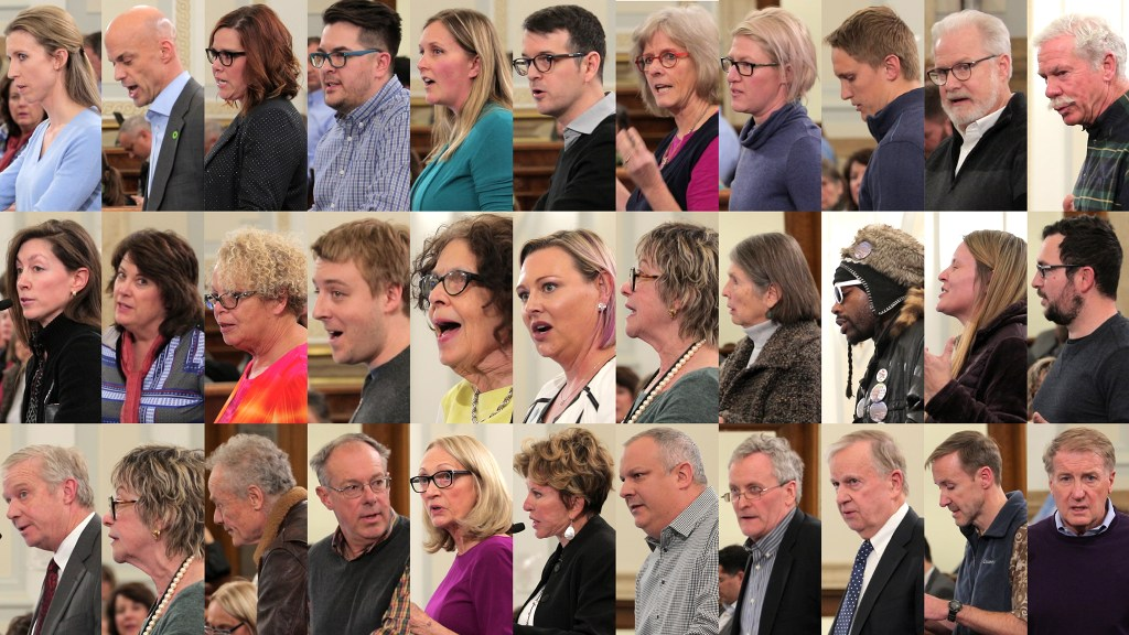 Everyone who spoke on Denver City Council's hearing on a rezoning in Hilltop, Jan. 7, 2018. (Kevin J. Beaty/Denverite)