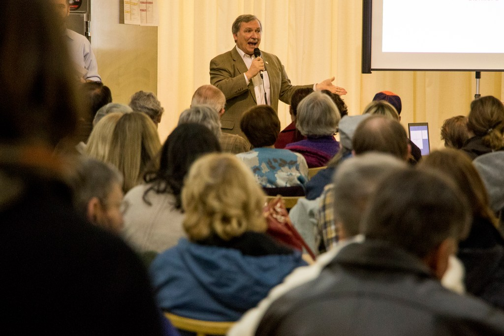 City Councilman Kevin Flynn speaks during a community meeting about the future of the Loretto Heights campus in Harvey Park South, Jan. 15, 2018. (Kevin J. Beaty/Denverite)