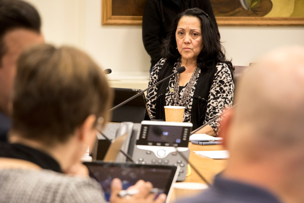 Councilwoman Debbie Ortega listens during a Safety, Housing, Education, & Homelessness Committee meeting discussing expanded powers for the Office of the Independent Monitor, Jan. 16, 2019. (Kevin J. Beaty/Denverite)