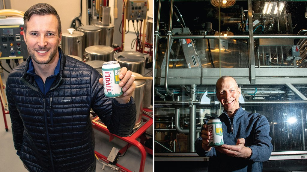 Scott Kerkmans (left), Metro State University beer industry program director, and Marty Jones, who works for Cask Global Canning Solutions, pose for portraits inside the Tivoli Student Union on the Auraria Campus, March 1, 2019. (Kevin J. Beaty/Denverite)