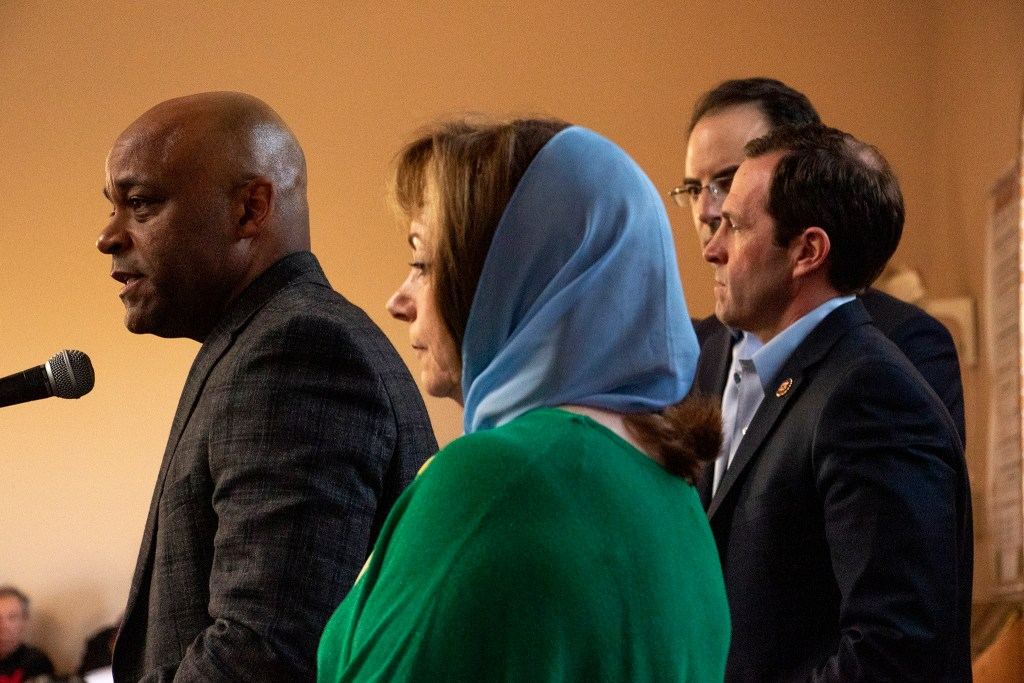 Denver Mayor Michael Hancock speaks during a vigil for the victims of a massacre at a Christchurch, New Zealand, mosque at the Colorado Muslim Society, March 16, 2019. (Kevin J. Beaty/Denverite)