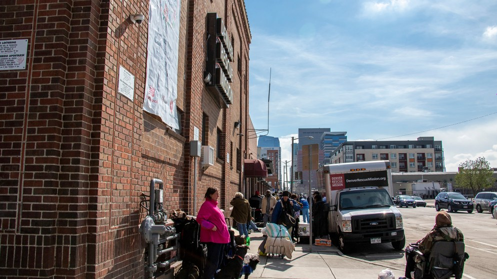 Outside the Denver Rescue Mission, April 12, 2019. (Kevin J. Beaty/Denverite)