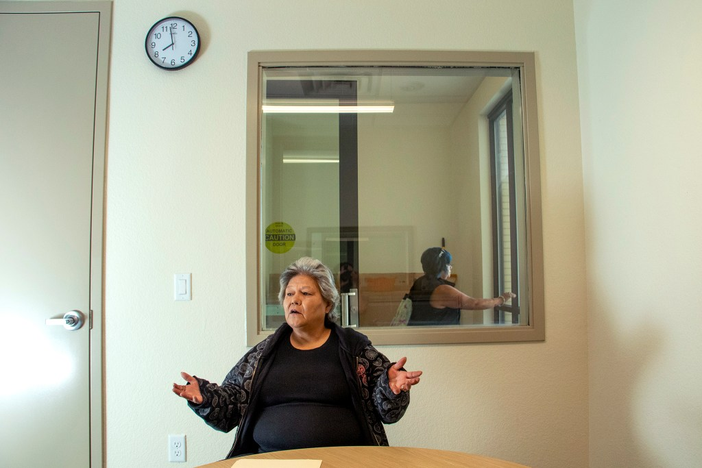 Phyllis Barros speaks to a reporter inisde Delores Project's new shelter space, April 24, 2019. (Kevin J. Beaty/Denverite)