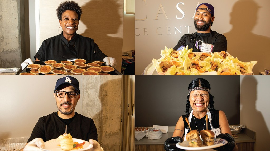 Portraits of Chef Angela Ray of Taste the Love Catering (clockwise from top left), Chef Garret Simpson of Bella's Gourmet Sausage Company, Chef Lorrie Gonzalez of Two Feathers Native American Cuisine and  Ahmed Hmoud of Marrakech Moroccan Cuisine, May 17, 2019. (Kevin J. Beaty/Denverite)